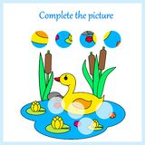 Worksheet for kids. Complete the picture, game for children stock illustration