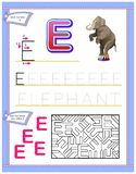 Worksheet for kids with letter E for study English alphabet. Logic puzzle game. Developing children skills for writing and reading Royalty Free Stock Photo