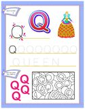 Worksheet for kids with letter Q for study English alphabet. Logic puzzle game. Developing children skills for writing and reading Royalty Free Stock Photography