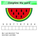 Worksheet for kids. Words puzzle educational game for children. Place the letters in right order. royalty free illustration