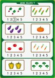 Worksheet for kindergarten kids, Count the number of objects, Learn the numbers 1, 2, 3, 4, 5. Worksheet for preschool children, Count the number of objects vector illustration