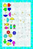 Worksheet for little children on a square paper. Logic puzzle. Need to correctly paint the figures. Vector cartoon image. Scale to any size without loss of Stock Photos