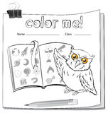 A worksheet with an owl and a book Stock Photos