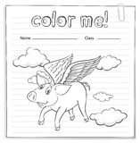 Worksheet with a pig Royalty Free Stock Photos