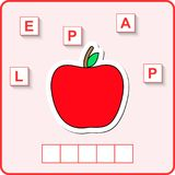 Worksheet for education. Words puzzle educational game for children. Place the letters in right order. Worksheet for preschool kids. Words puzzle game for kids stock illustration