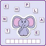 Worksheet for education. Words puzzle educational game for children. Place the letters in right order. Worksheet for preschool kids. Words puzzle game for kids royalty free illustration