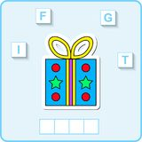 Worksheet for education. Words puzzle educational game for children. Place the letters in right order. Worksheet for preschool kids. Words puzzle game for kids vector illustration