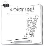 Worksheet showing a boy drawing a line Royalty Free Stock Photo