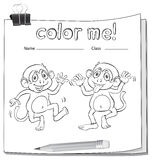 A worksheet showing two playful monkeys Royalty Free Stock Image