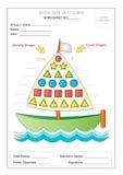 Worksheet: Utożsamia Podstawowych kształty & Liczy Fotografia Royalty Free