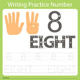 Worksheet Writing practice number eight. Isolated for education Royalty Free Stock Images