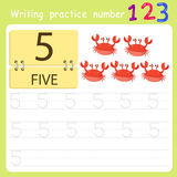 Worksheet Writing practice number five Stock Photography