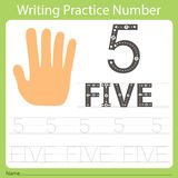 Worksheet Writing practice number five. Isolated for education vector illustration