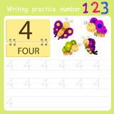 Worksheet Writing practice number four Royalty Free Stock Photo