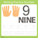 Worksheet Writing practice number nine. Isolated for education Royalty Free Stock Photography