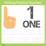 Worksheet Writing practice number one Stock Photo