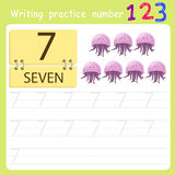 Worksheet Writing practice number seven Royalty Free Stock Photos