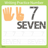 Worksheet Writing practice number seven Royalty Free Stock Images