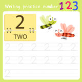 Worksheet Writing practice number two Royalty Free Stock Image