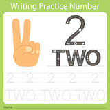 Worksheet Writing practice number two. Isolated for education Stock Photos