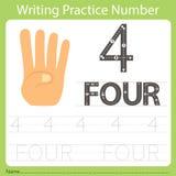 Worksheet Writing praktyka liczba cztery Obrazy Stock