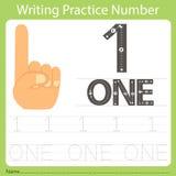 Worksheet Writing praktyka liczba jeden Zdjęcie Stock
