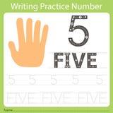 Worksheet Writing praktyka liczba pięć Obraz Royalty Free