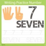 Worksheet Writing praktyka liczba siedem Obrazy Royalty Free