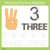 Worksheet Writing praktyka liczba trzy Fotografia Royalty Free
