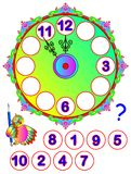 Worksheet for young children. Repair the clock. Find the missing numbers and write them on the correct places. Logic puzzle game. Vector cartoon image. Scale to Stock Photo