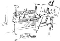 Workshop. The black-and-white image easel with a picture Vector Illustration