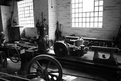 Workshop. Photograph of machinery in an old workshop Stock Photo