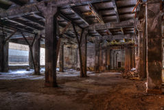 Workshop of abandoned factory. Dilapidated workshop of the abandoned factory Royalty Free Stock Photo