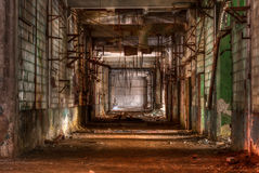 Workshop of abandoned factory. Dilapidated workshop of the abandoned factory Stock Photo