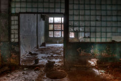 Workshop of abandoned factory. Dilapidated workshop of the abandoned factory Royalty Free Stock Images