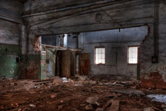 Workshop of abandoned factory. Dilapidated workshop of the abandoned factory Royalty Free Stock Photos