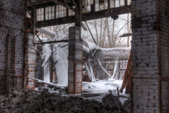 Workshop of abandoned factory. Dilapidated workshop of the abandoned factory Stock Photos