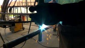Workshop for arc welding stock video