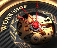 Workshop on Black-Golden Watch Face. Stock Photo