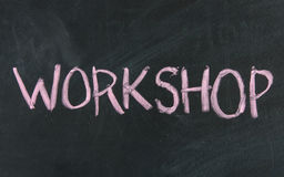 Workshop blackboard sign Stock Images