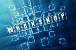 Workshop in blue glass blocks Stock Image