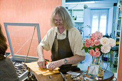 In workshop of Breton goldsmith Royalty Free Stock Image