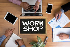 WORKSHOP   business strategy and Diverse Business  Working onlin Royalty Free Stock Photo