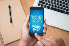 WORKSHOP business strategy and Diverse Business Working onlin stock image