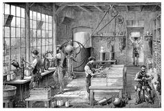 Workshop at a Carbonated Water Factory Stock Images