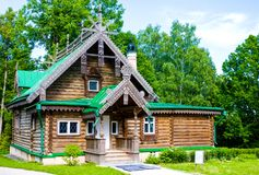 Workshop with carved wooden ornament in Museum-Reserve Abramtsevo. Building was Royalty Free Stock Photography