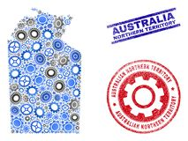 Workshop Collage Vector Australian Northern Territory Map and Grunge Stamps. Repair service vector Australian Northern Territory map composition and stamps royalty free illustration