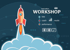 Workshop concept on background with rocket. Stock Photos