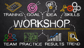Workshop concept. On blackboard background royalty free stock photography