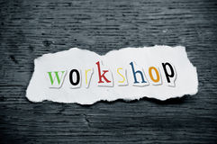 Workshop. Concept creative message on wooden desk background - Workshop Stock Photos